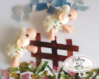 Jumping Sheep PDF sewing pattern-DIY-Felt sheep toy pattern-Nursery decor-Sheep ornament-Baby's mobile toy-Cute sheep pattern-Lamb toy