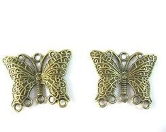 Metal - Antique Bronze - Butterfly with Loops - Pack 2