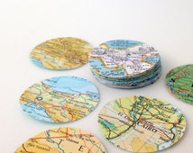 Vintage Map - Atlas - 1.75 inch circle QTY 20