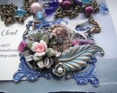 Assemblage Floral Necklace Hand made, One of a Kind, Nature theme, Great Gift for her, Flower necklace , Assemblage jewelry , Nature lover