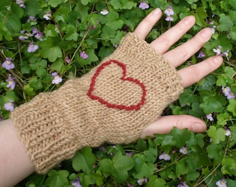 Handknit Brown Embroidered Heart Fingerless Gloves - size s/m