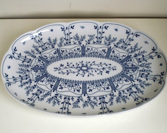 Cake-Dish,Tischenreuth Fine China, Germany,Blue Flowers,Floral Cake Platter,Tableware, Vintage, 1970's