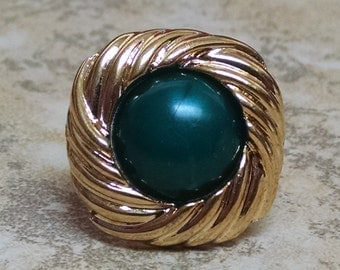 Green and Gold Button Ring