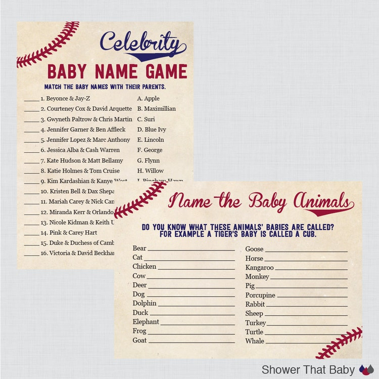 Baseball Baby Shower Games Package Seven By Showerthatbaby
