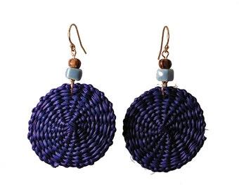 Periwinkle Iraca Fiber Earrings - Periwinkle Boho Earrings - Perwinkle Woven Earrings