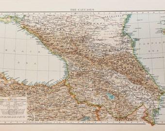 1900 Antique Times Map, Europe, Russian Caucasus, Black Sea, Caspian Sea