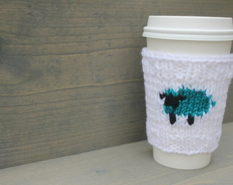 Sheep coffee cozy, knitted