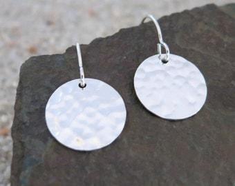 Hammered Disc Earrings, Sterling Silver Circle Earrings, Modern Jewelry, Contemporary Dangle Earrings