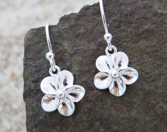 Tiny Flower Earrings, Sterling Silver Flowers, Nature Jewelry, Dainty Dangle Earrings