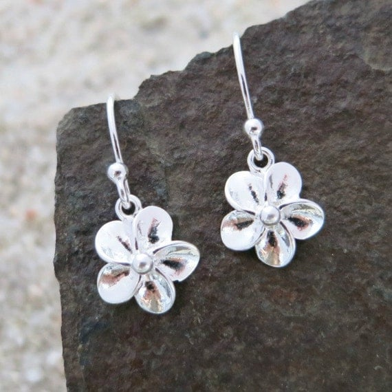 Tiny flower earrings sterling silver flowers nature jewelry for Gemsprouts tiny plant jewelry