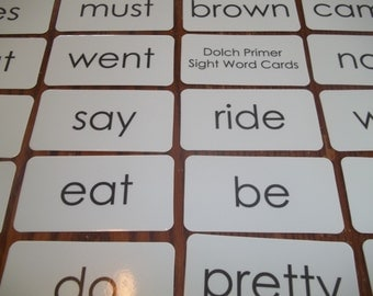 1 full laminated set of Dolch Primer sight word flash cards. 52 cards total. New