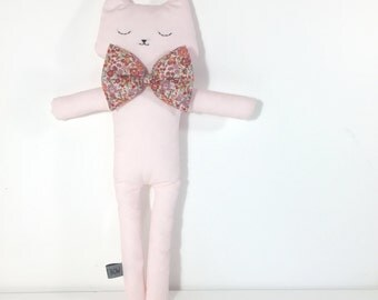 Soft toy pink cat - bow pink liberty