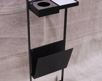 1970s Steel Standing  Ashtray and Magazine Rack, very sleek and elegant.