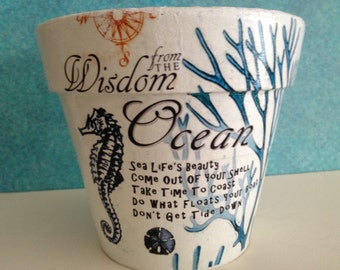 Nautical Ocean Decor Flower Pot Cache Pot, Beach Coastal Maritime Seahorse Sea Turquoise Coral Sand Dollar, Dictionary Verse, Hostess Gift