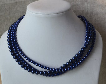 pearl necklace,navy blue pearl necklace,bridesmaids necklace,3-rows pearl necklaces,wedding necklace,glass pearls necklace,necklace,wedding