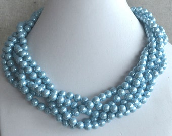 five strand twisted light blue glass pearl necklace, statement necklace, wedding bridesmaid necklace jewelry accessory, blue bead necklace