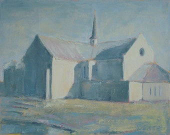 Whites Chapel Church, Framed Original Oil Painting 11 X 14