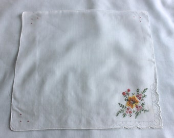 Vintage white handkerchief with yellow flower embroidered design