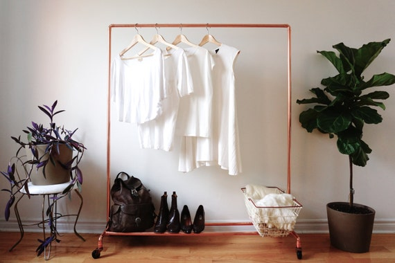 Rolling Copper Pipe Clothing Rack Garment Rack By