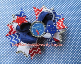 Fourth of July 5 Inch Stacked Boutique Bow