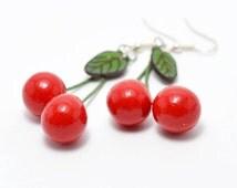 Red Cherry Earrings  handmade polymer clay Dangling Cherries for women  Dangle Earrings gift idea bright jewelry