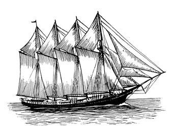Vintage schooner - Temporary tattoo