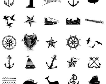 Set of 25 Nautical Temporary tattoos