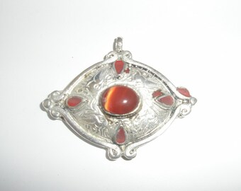 Rust and Silver in Colour Pendant