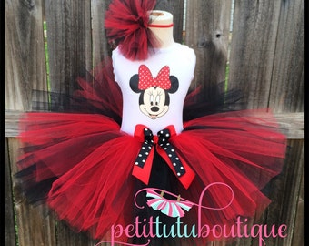Minnie Mouse Birthday Tutu set any size available 12m to 8y FREE Headband