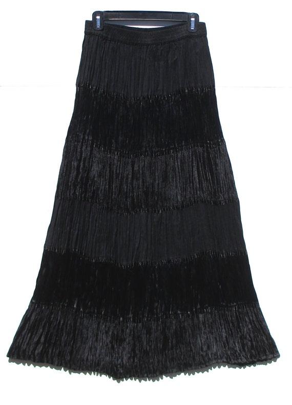 Napa Valley Tiered Broomstick Skirt Black Velvet Satin