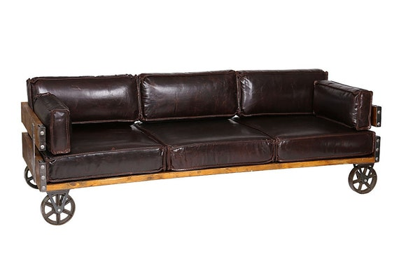 vintage leather sofa industrial style by smithersofstamford. Black Bedroom Furniture Sets. Home Design Ideas