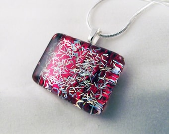 Bold Red with Silver Glitter, Hand-painted, Glass Dome Mini-Rectangle Pendant Necklace