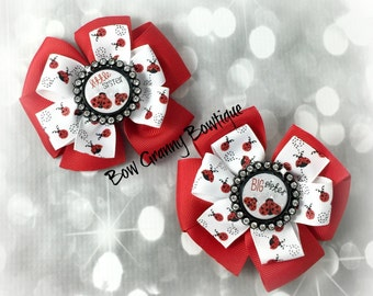Little Sister Bow, Big Sister Bow, Sister Bow, Sister Hair Bow, Lady Bug Bow, Lady Bug Hair Bow, Black and Red Bow, Pinwheel Bow