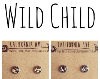 HYPOALLERGENIC Wild Child Earrings 8mm SMALL (Surgical Stainless Steel) - Zebra or Leopard