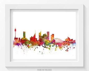 Sydney Poster, Sydney Skyline, Sydney Cityscape, Sydney Print, Sydney Art, Sydney Decor, Home Decor, Gift Idea, AUSY08P