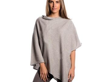Light Grey Poncho/Light Grey 100% Cashmere Poncho