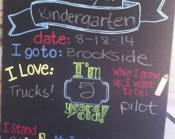 First day of school reusable chalkboard, back to school, milestone prop, custom, hand painted