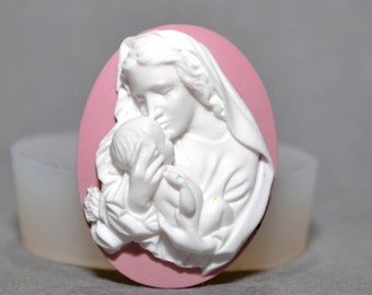 MOTHER MARY JESUS silicone  cameo mold sugarcraft resin virgin holly communion baptism christening polymer clay wax plaster soap