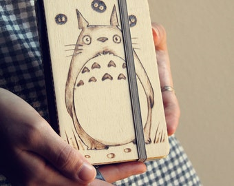 Wooden totoro refillable notebook