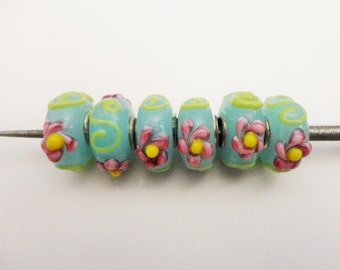 Sky Blue Floral Glass Metal Lined Bead 6pcs