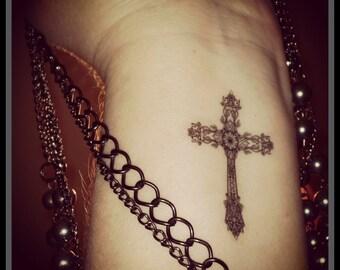 Cross fake tattoo temporary tattoo Christian cross Gothic cross tattoo religious tattoo