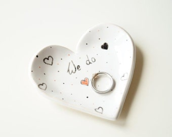 Modern Ring Pillow, Ring Bearer Pillow Alternative, Wedding Ring Bearer, Ceramic Heart, Wedding Ring Holder, Mr&Mrs, Ceramics and Pottery