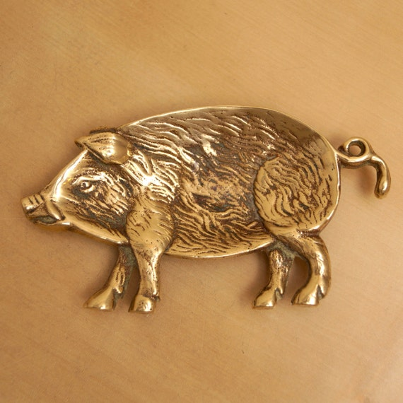 solid brass pig dish for rings or jewelry ashtray soap