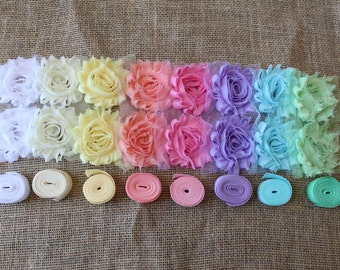 Pastel colors kit shabby chiffon flowers foe elastic 24 piece DIY Make your own makes 8 - 16 headbands or 8 pair baby barefoot sandals