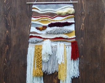 ON SALE: Woven Wall Hanging / Tapestry - neutrals, yellows, reds