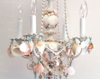 4 Light Sea Shell Mini Chandelier