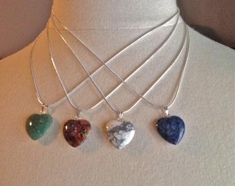 NECKLACE, Jasper, Aventurine, Howlite, Sodalite, Sterling Silver .925, Wedding Jewelry