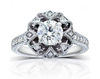 Round-cut Diamond Vintage Style Engagement Ring 1 1/5 Carat (ctw) in 14k Gold