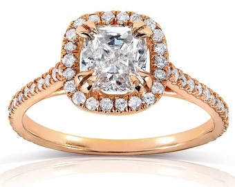 Cushion-cut Diamond Halo Engagement Ring 1 1/3 Carat (ctw) in 14k Rose Gold