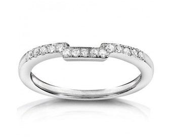 Round Diamond Curved Wedding Band 1/10 Carat (ctw) in 14K White Gold